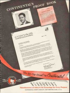consolidated-vultee aircraft corp 1953 continental screw co vintage ad