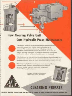 clearing machine corp 1953 cuts hydraulic press maintenance vintage ad