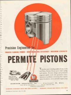aluminum industries inc 1953 precision permite pistons vintage ad