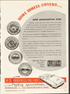 a s campbell company 1953 wire wheel covers automotive trim vintage ad