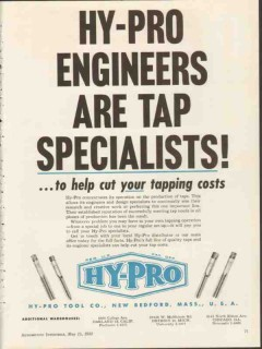 hy-pro tool company 1953 engineers are tap specialists vintage ad