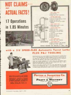 potter and johnston company 1953 actual facts turret lathe vintage ad