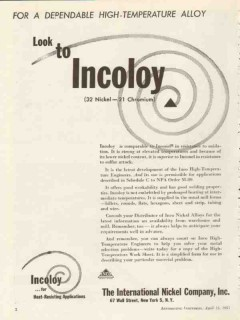 international nickel company 1953 high temperature alloy vintage ad