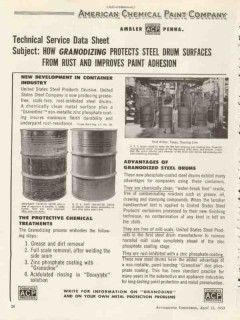american chemical paint company 1953 protects steel drums vintage ad