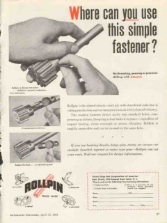 elastic stop nut corp 1953 use this simple fastener rollpin vintage ad