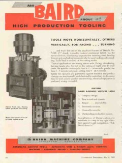 baird machine company 1953 tools move horizontal vertical vintage ad