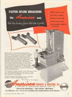 american broach machine company 1953 fast spline broaching vintage ad