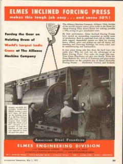 american steel foundries 1953 elmes inclined forcing press vintage ad