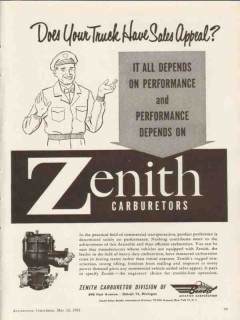 bendix aviation corporation 1953 zenith carburetors truck vintage ad