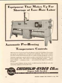 chisholm-ryder company 1946 pre-heat temperature controls vintage ad
