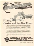 chisholm-ryder company 1946 automatic feed cut grade beans vintage ad