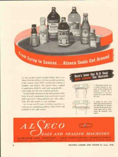 aluminum seal company 1946 syrup sauces alseco seals around vintage ad