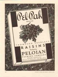 peloian packing co 1946 pel-pak thompson seedless raisins vintage ad