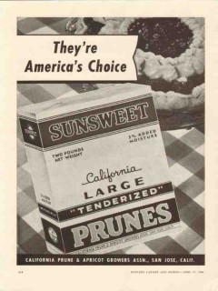 california prune apricot growers assn 1946 americas choice vintage ad