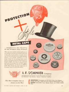 i f schnier company 1946 protection and style metal caps vintage ad