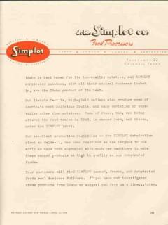 j r simplot company 1946 food processor dehydrated potatoes vintage ad