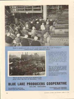 blue lake producers cooperative 1946 canned beans vegetable vintage ad