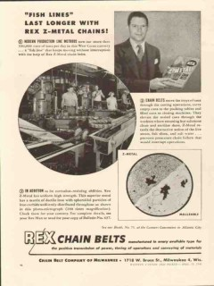 chain belt company 1946 last longer with rex z-metal chains vintage ad