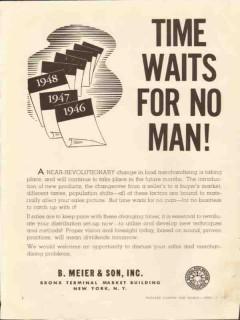 b meier son 1946 time waits for no man food merchandising vintage ad