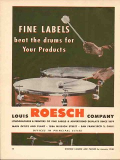 louis roesch company 1946 fine labels beat the drum product vintage ad