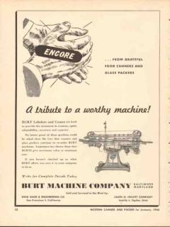 burt machine company 1946 encore food canners glass packers vintage ad