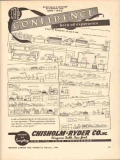 chisholm-ryder company 1946 crco tomato juice pea bean line vintage ad