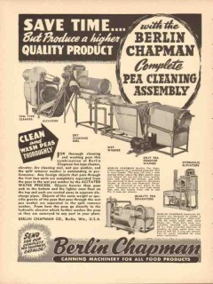 berlin chapman company 1946 complete pea cleaning assembly vintage ad
