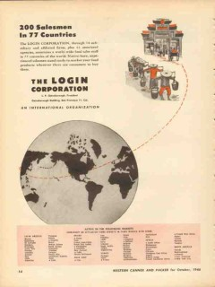 login corporation 1946 gainsborough food salesmen countries vintage ad