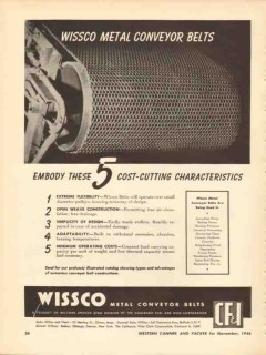 colorado fuel iron corp 1946 wissco metal conveyor belt vintage ad
