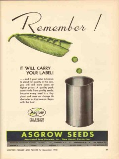 associated seed growers inc 1946 remember green peas label vintage ad