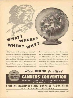 canning machinery supplies assoc 1946 canners convention vintage ad