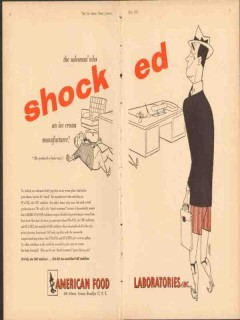 American Food Laboratories Inc 1951 Vintage Ad Ice Cream Shocked