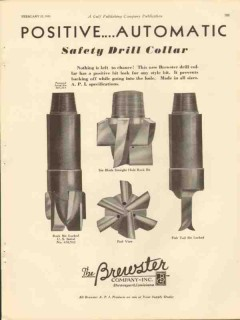 Brewster Company 1931 Vintage Ad Oil Drill Collar Positive Automatic