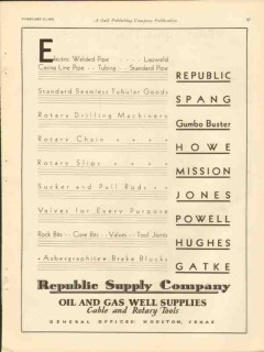Republic Supply Company 1931 Vintage Ad Oil Gas Electric Welded Pipe