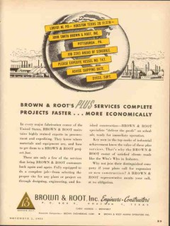 Brown Root Inc 1953 Vintage Ad Oil Plus Services Complete Projects