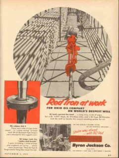 Byron Jackson Company 1953 Vintage Ad Ohio Oil Co Well Red Iron Work