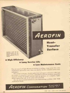 aerofin corp 1953 high efficiency heat transfer surface vintage ad