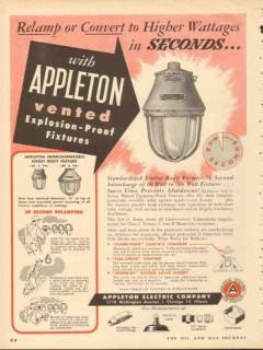 appleton electric company 1953 vent explosion proof fixture vintage ad