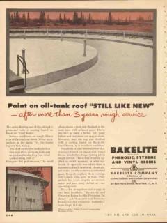 Bakelite Company 1953 Vintage Ad Paint On Oil Tank Roof Still Like New