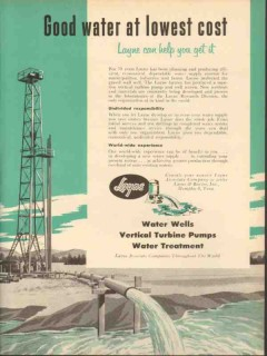 layne bowler inc 1953 good water at lowest cost wells vintage ad