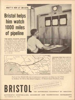 Bristol Company 1953 Vintage Ad Oil Field Watch 1000 Miles Pipeline