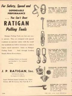 J P Ratigan Inc 1953 Vintage Ad Oil Field Pulling Tools Safety Speed