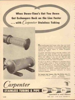 carpenter steel company 1953 exchangers stainless tubing vintage ad