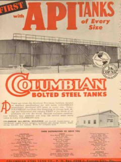 Columbian Steel Tank Company 1953 Vintage Ad Oil First API Every Size
