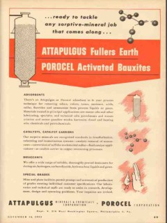 Attapulgus Minerals Chemicals Corp 1953 Vintage Ad Porocel Adsorbents