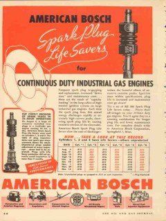 american bosch 1953 spark plugs continuous duty gas engines vintage ad