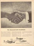 beech aircraft corp 1953 thousand mile handshake bonanza vintage ad