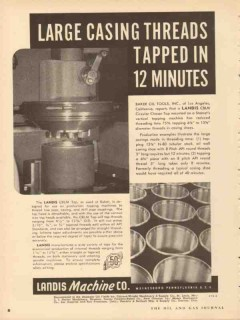 landis machine company 1953 large casing threads tapped vintage ad