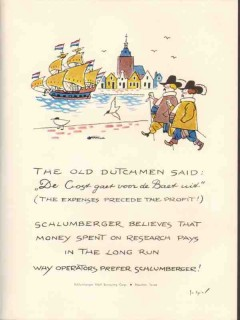 Schlumberger Well Surveying Corp 1953 Vintage Ad Oil Old Dutchmen Said