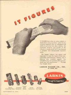 Larkin Packer Company 1953 Vintage Ad Oil Field Well Cementing Figures